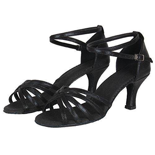 De Zapatos Salón Hroyl Negro Latino Mujer Baile Cuero 6 1810 qEWWAP51wn