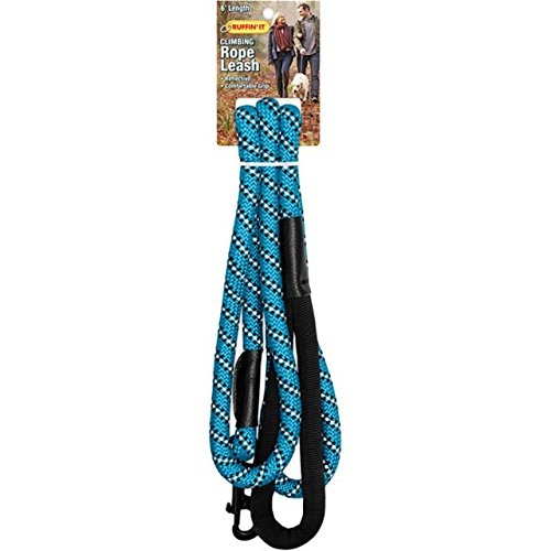 (Ruffin It Climbing Rope Reflective Leash, Blue with Black, 6')
