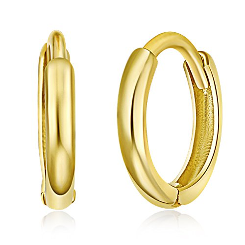 Huggie Childrens Earrings - 14k Yellow Gold 1.5mm Thickness Huggie Earrings (8 x 8 mm)