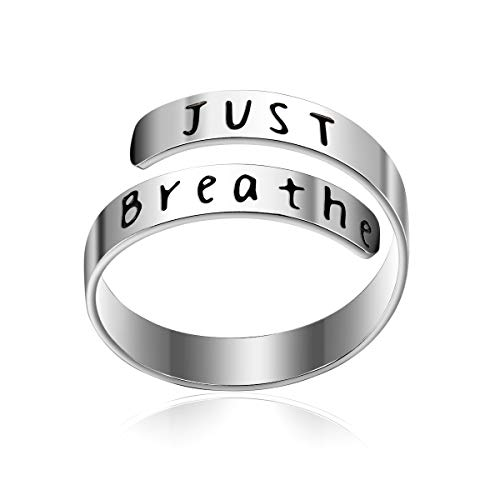 - bestill Adjustable Ring JUST Breathe Jewelry Personalized Stainless Steel Spiral Wrap Twist Rings Birthday Graduation Gifts for Girls