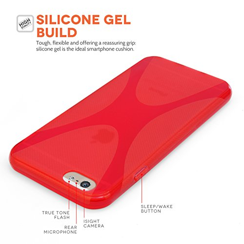 Yousave Accessories Silikon X-Line Schutzhülle mit Eingabestift für iPhone 6–rot