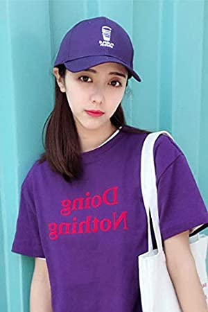 purple purple beverage cup embroidered base women girls students unique curved brim hat cap lovers cap men women tide street casual fashion (black mz22 cup embroidered base GOKAGY