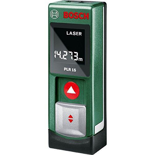 Bosch DIY Digitaler Laser-Entfernungsmesser PLR 15, 2x Batterien AAA, Blister (0,15-15 m Messbereich, +/- 3 mm Messgenauigkeit)