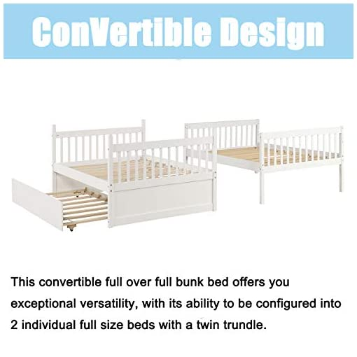 Bedroom Bunk Bed, HABITRIO Solid Wood Full Over Full Size Beds Frame w/ Pull-Out Trundle, Ladder, Safety Guard Rail, No Box… bunk beds