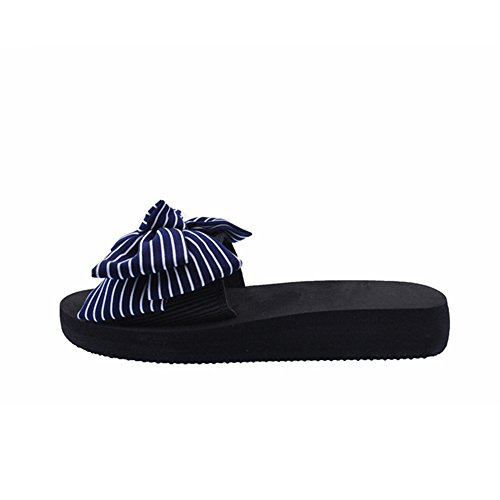 ZHOUZJ Women Bow Casual On Flat Slippers Slippers Shoes Shoes Slip Beach Red Slides qqwAHrB