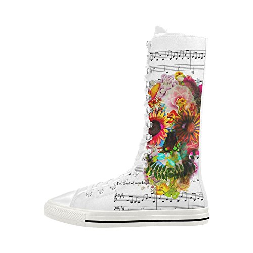 D-Story Sugar Skull Lace Up Tall Punk Dancing Canvas Long Boots Sneakers Shoes for Women