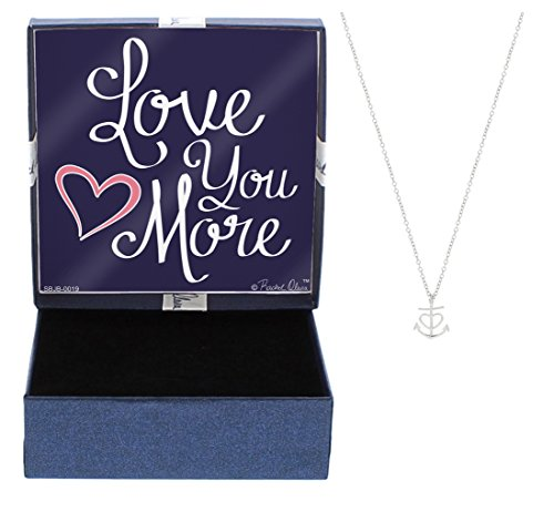 Mother's Day Gift Nautical Jewelry Love You More Heart Anchor Necklace Fashion Silver-Tone Link Chain Necklace Jewelry Box Keepsake Gift Boating Sailing Jewelry Anchor Jewelry Heart - Wrapping Dummies Gift For
