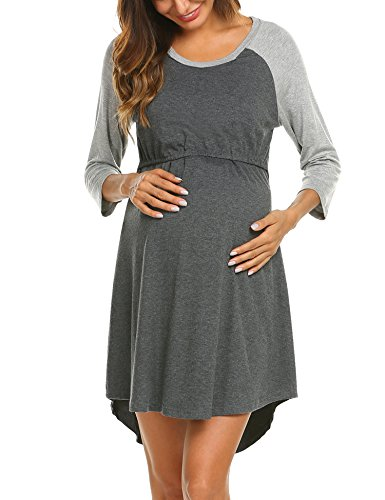 Ekouaer Women's Maternity Dress Nursing Nightgown for Breastfeeding Nightshirt Sleepwear Dark Grey