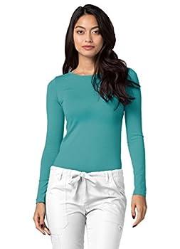 Adar Womens Comfort Long Sleeve T-shirt Underscrub Tee - 2900 - Aqm - S 3