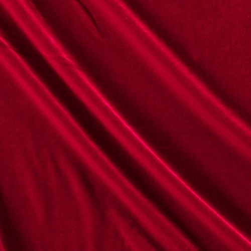 (Ben Textiles Stretch Velvet Red Fabric by The Yard, Autumn)