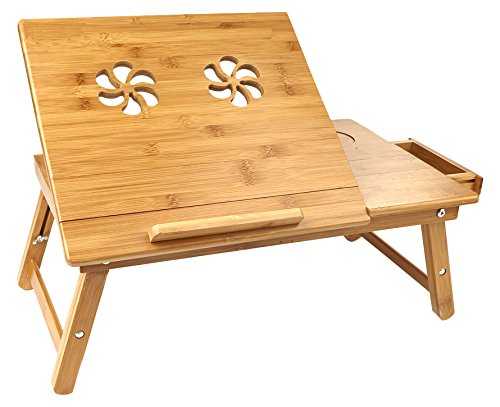 ap Desk Flip Top with Drawer, Foldable Legs, Breakfast Tray, Bamboo Brown ()