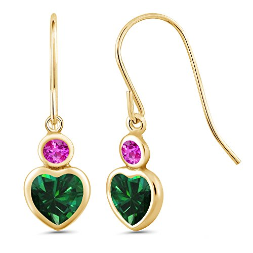 Pink Necklace Earrings Simulated Sapphire (1.12 Ct Heart Shape Green Simulated Emerald Pink Sapphire 14K Yellow Gold Earrings)