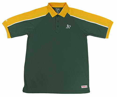 MLB Oakland Athletics Color Blocked Polo with Lined Mini Mesh Panels, Dark Green, Large