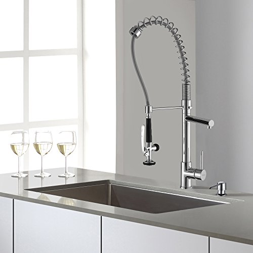 Kraus KHU100-30-KPF1602-KSD30CH 30 inch Undermount Single Bowl Stainless Steel Kitchen Sink with Chrome Kitchen Faucet and Soap Dispenser