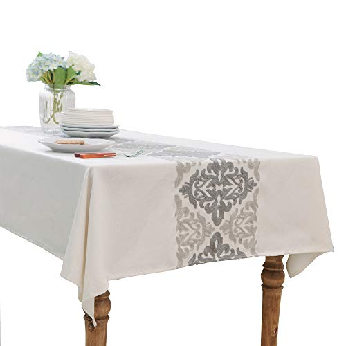 HWY 50 Cotton And Linen Blended Grey Embroidered Tablecloths For Rectangle Tables Kitchen Decorative Table Cloths Modern Euro Gray Decor Geometric Elegant Floral 60 x 84 inch, 1 Piece