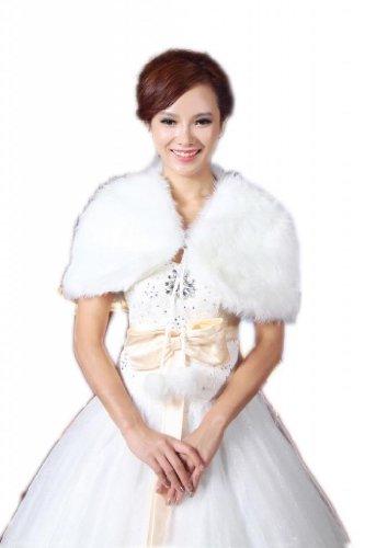Piel sintética de novia de boda para LuYan mujeres fina cinta cierre Fluffy Bolero Marfil