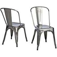 Tabouret Mid-century, Bistro Gunmetal Dining Chairs Is Stackable for Space Saving Storage (Set of 2) - Silver