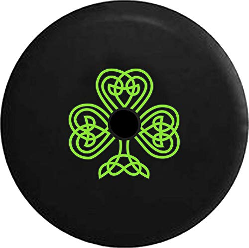(Pike Outdoors JL Series Spare Tire Cover Backup Camera Hole Green Celtic Knot Shamrock Irish Heritage Black 32 in)