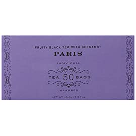 Harney & sons fruity black tea with bergamot, paris, 50 tea bags 1 delicious blend created in homage to paris fruity black tea with vanilla and caramel flavors, and a hint of lemony bergamot medium body