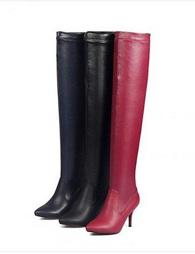 Azul Eu39 Cn39 Rojo Casual us8 Zapatos Negro Stiletto Xzz Poliéster De Mujer Tacón Botas Puntiagudos Uk6 Red n6Pxvqawx