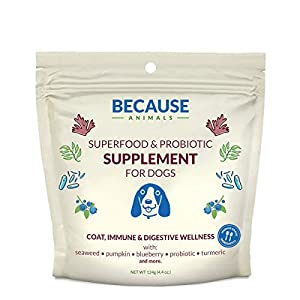 Because Animals Superfood & Probiotic Supplement for Dogs (4.4oz) – All-Natural, Human-Grade Ingredients -with Vitamins…
