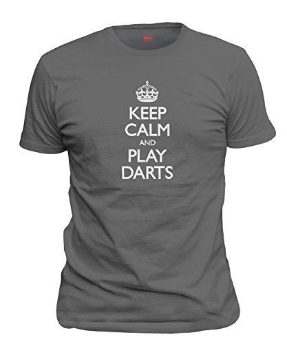 ShirtLoco Men's Keep Calm And Play Darts T-Shirt, Smoke Gray 5XL ()