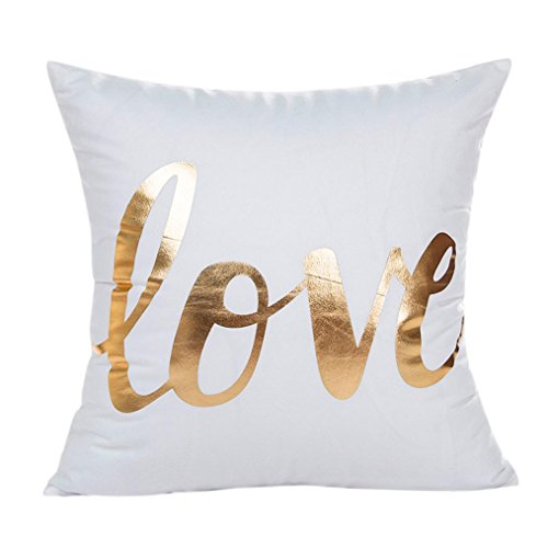 Glorrt Gold Foil Printing Pillow Case Sofa Waist Throw Cushion Cover Home Decor (G)
