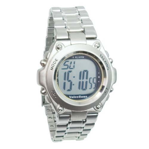 Round Metal 4-Alarm English Talking Watch by MaxiAids