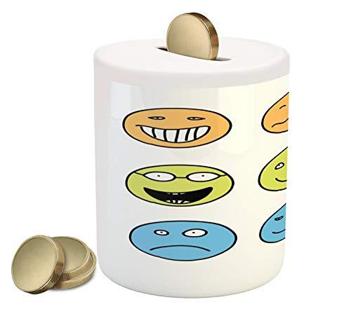 Lunarable Mood Piggy Bank, Doodle Emotion Expressions Emoji Faces Happy Sad, Printed Ceramic Coin Bank Money Box for Cash Saving, Pale Orange Pale Avocado Green Sky Blue White