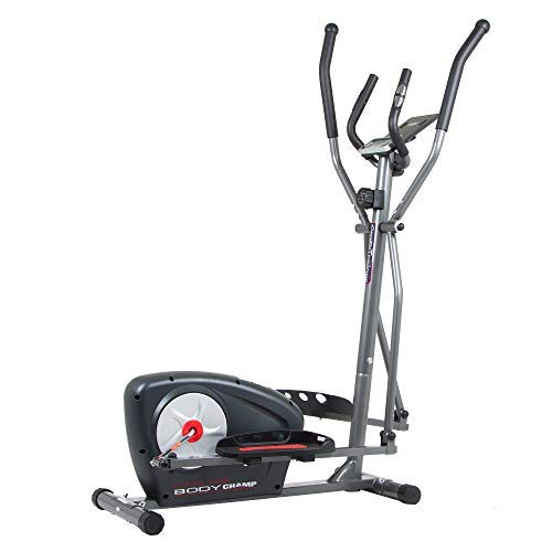 Body Champ New Elliptical Machine Trainer Magnetic Smooth Quiet Driven with LCD Media Holder Monitor and Pulse Rate Grips