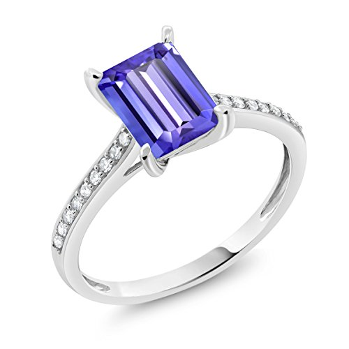 Ring Jewelry White Gold Tanzanite (10K White Gold 2.03 Ct Emerald Cut Blue Tanzanite White Diamond Engagement Ring)