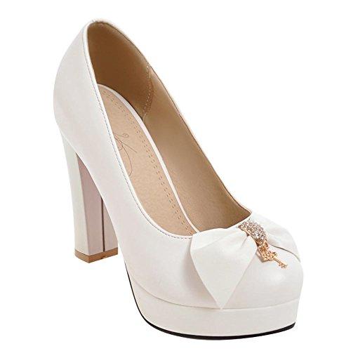Charm Foot Womens Elegant Bows Rhinestone Chunky High Heel Pump Shoes White 47s0XHSa