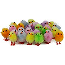 WEWILL Adorable Mini Vibrant Colors Easter Chicks - Box of 24 Party Decoration Easter Egg Bonnet Decoration Plush Chicks, 1-Inch (Style 2)