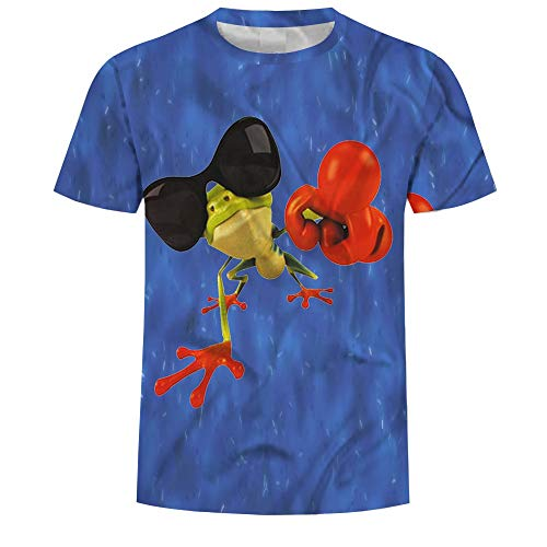 Wehor 3D T-Shirt Men's Sport Style Soft Quick Dry Short-Sleeve Shirt Training Athletic Fitness Sunglasses Frog - 2171 Sunglasses