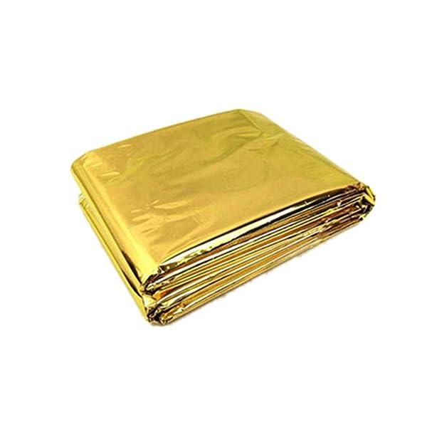 Ndier - Manta de emergencia, manta térmica, manta térmica para protección del calor, multifunción, manta de primeros auxilios, color dorado, 210 x 130 cm 2