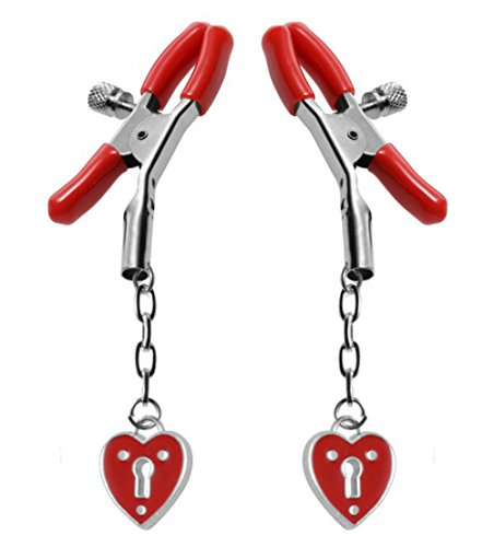 Adjustable Nipple Clamps Clips Heart Red Adult Bondage Toys Silver Metal Cover Pasties Love Gift