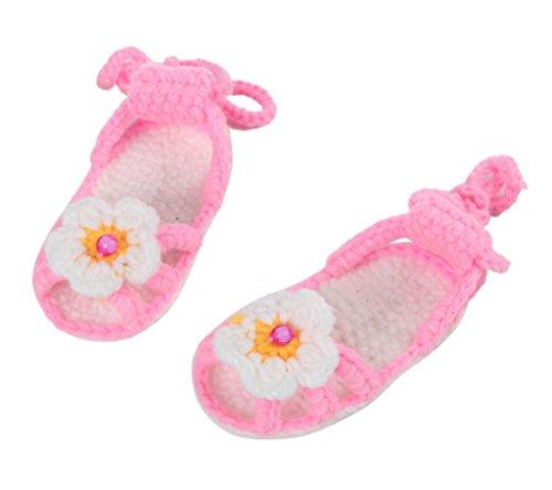 Smile YKK 1 Paar One Size Strick Schuh Baby Unisex Liebe Muster Strickschuh 11cm Hellgrün Blüte Blume Pink