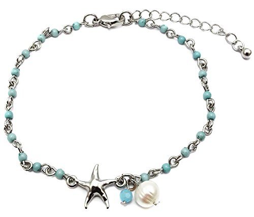 Freshwater Blue Pearl Beads - Starfish Charm and Freshwater Pearl Bead Link Anklet (Rhodium - Blue Bead)