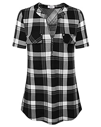 Ca Kra Plaid Shirts for WomenxFF0C Women's V Neck Tee Shirts Short Sleeve Casual Summer T-Shirt Tops, Black Plaid XXL