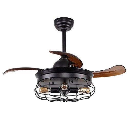 Vintage Ceiling Fan with Lights 36 Inch Retractable Blades Industrial Ceiling Fan with 4 Edison Bulbs, Not Included, Black (Retractable Blade Fan)