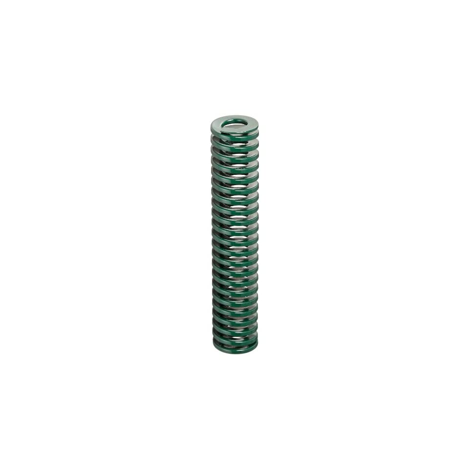 Die Spring, Light Duty, Closed & Ground Ends, Green, 25mm Hole Diameter, 12.5mm Rod Diameter, 127mm Free Length, 16.7 newtons Spring Rate (Pack of 10)