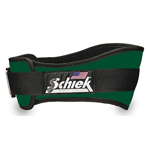 Schiek Nylon One Way Velcro Closure 4 ¾ Inch Weight Lifting Belt for Comfortable Contoured Fit, Forest Green Size Medium