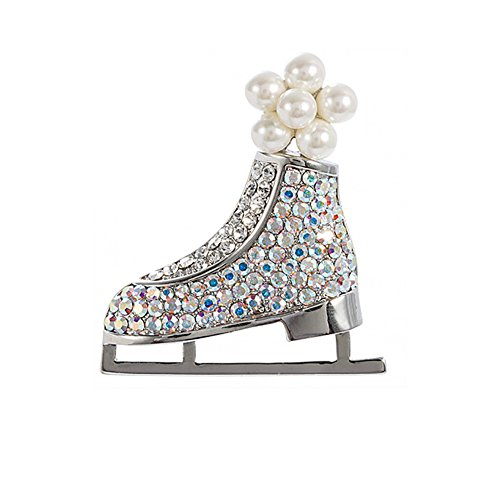 Brooch Pins ,For Women Christmas Gifts Colored Rhinestones Sled Skates Imitation Pearl - Glasses Phoebe