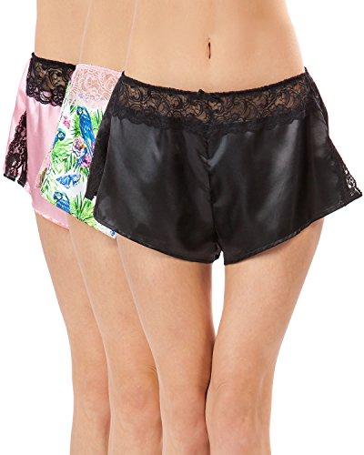 Ashford & Brooks Women's Satin Lace Trim Knicker Shorts 3 Pack - Parrot Pack - Large