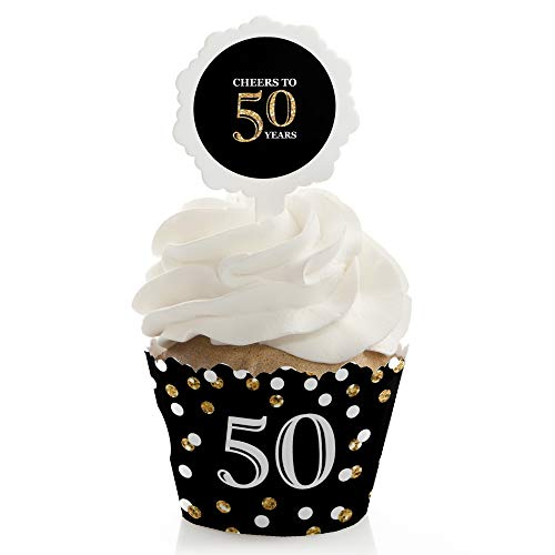 Adult 50th Birthday - Gold - Birthday Cupcake Wrapper and Pick - Cupcake Decorating Kit - Set of 24