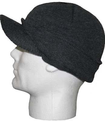 3bb3076cc8a Mens Charcoal Grey Knitted Beanie Hat with Peak GL221  Amazon.co.uk   Clothing