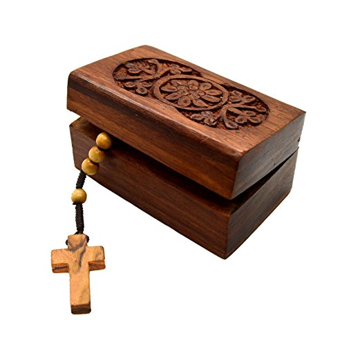 Holy Land Bethlehem Olive Wood Rosary Beads with Wooden Hand Carved Jewelry Box -