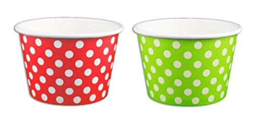 Red and Green Polka Dot Ice Cream Cups 8 oz- 50 count -
