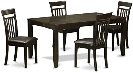 LYCA5-CAP-LC 5 Pc Dining room set for 4-Table with Leaf and 4 Dining Chairs
