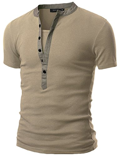 Doublju Mens Casual Henley T-Shirts With Short Sleeve TAUPE 3XL